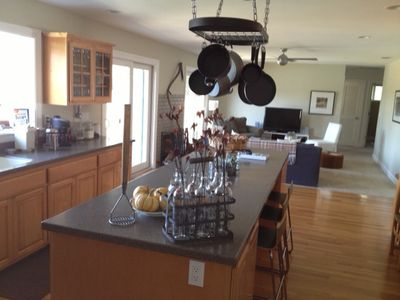 well equiped kitchen, big enough for group cooking, & media room