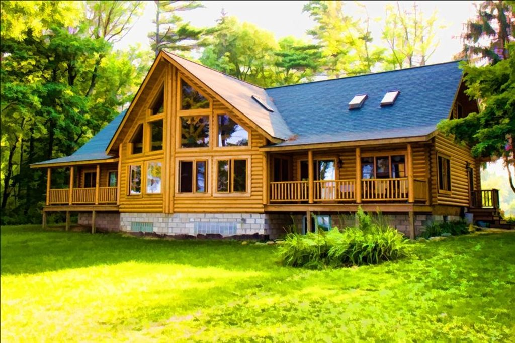Lexington lake huron large log home vrbo for Huge log homes