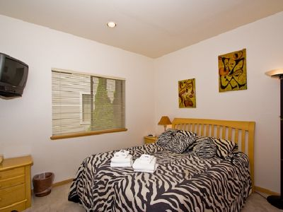 Tahoe Keys house rental - There's another queen bedroom downstairs adjacent to a full bathroom.