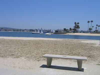 Mission Beach condo rental - Watch the SeaWorld fireworks from this bench in the summer!