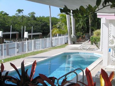 Marco Island house rental - Very Private Pool and Playground Area that is Fenced with a 56' Dock.