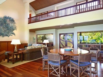 Puako estate rental - The Great Room; reverse shot looking toward the pool and view of the upstairs