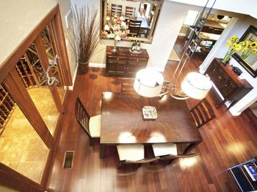 Living room and wine cellar.