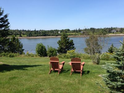 View from the Adirondack chairs out the cove to Placentia and Swan's Islands.
