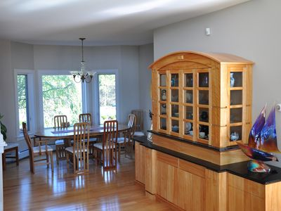 Dining room with built-in china cabinet.