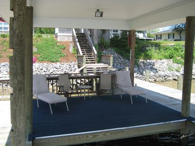 Covered boathouse sitting area