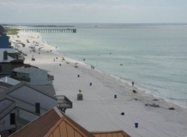 Lower Grand Lagoon condo rental - 601 Looking East toward pier/jetties. Note no obstruction on view from balcony