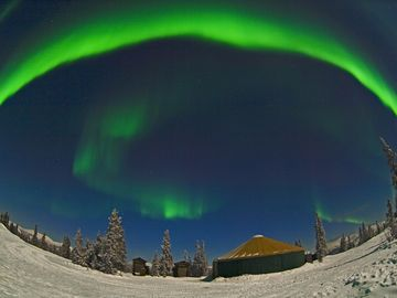 Aurora over Yurt, Aurora Viewing Tours by McClean Image Studio