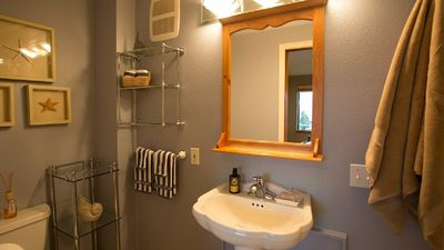 Seattle cottage rental - Bathroom with Jeetted shower head.