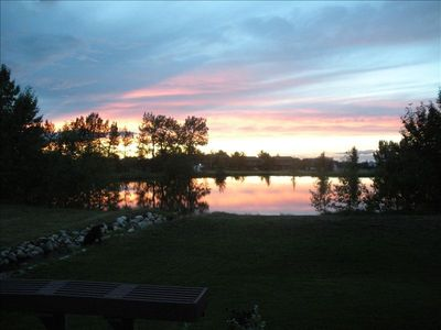 Our View off our Patio to backyard Pond during a Beautiful Red Lodge Sunset