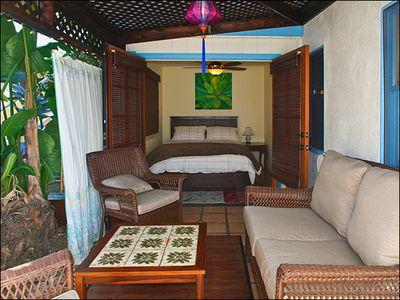Bedroom (background) opens out to Cabana Room (foreground)
