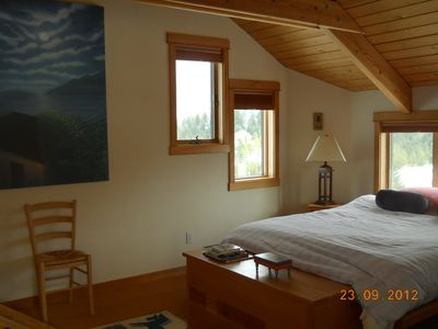 Main bedroom upstairs with queen bed and twin loft, VIEWS!