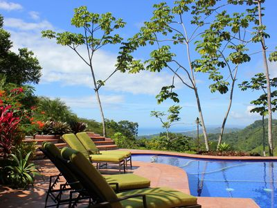 Poolside lounging at Villa Baha, with ocean, jungle and garden views