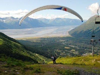 Paragliding from the top of Mt. Alyeska with view of Turnigan
