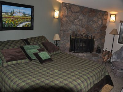 Heavenly Valley cabin rental - One of the two master suites, cozy fireplace. Japanese tub as well.