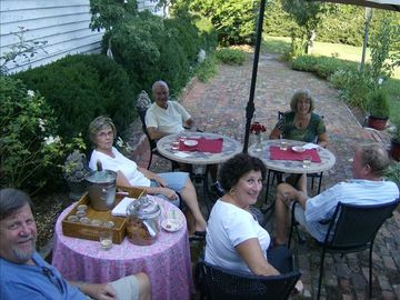 Folks enjoying the back-garden
