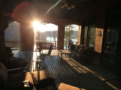 Lake Nantahala house rental - Terrace level screen porch view of lake