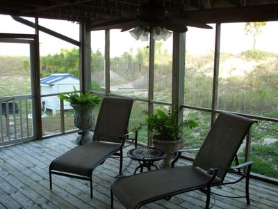Lounge chairs on covered deck in screen room among ferns and fans.