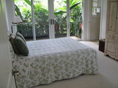 The guest bedroom overlooks a tropical garden!