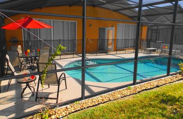 Spectacular southwest facing heated pool for all day sun with Elegant Patio Set