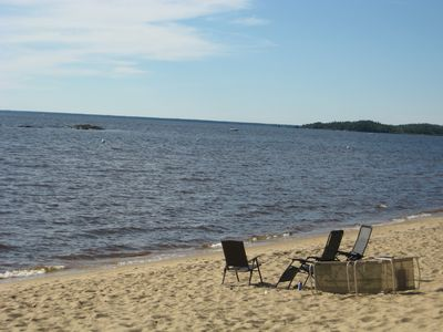 Snowmobile paradise, sandy beach, crystal clear water and comfort assured.