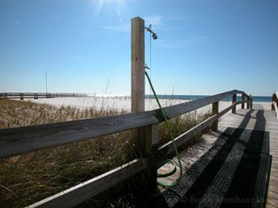 Just a short boardwalk over the sea grass onto the beautiful beach!