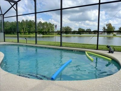 Pool with BBQ, lake view, private with no rear neighbors!!