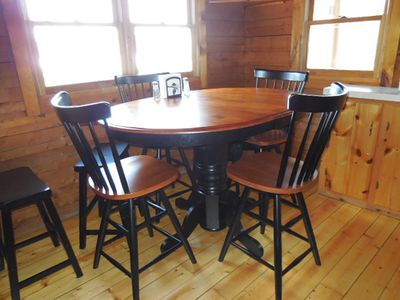 Pittsburg cabin rental - New table!! Seats 6 comfortably. Extends with a leaf (not shown in picture).