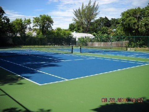 Newly refinished tennis courts