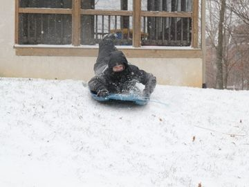 back yard sledding!