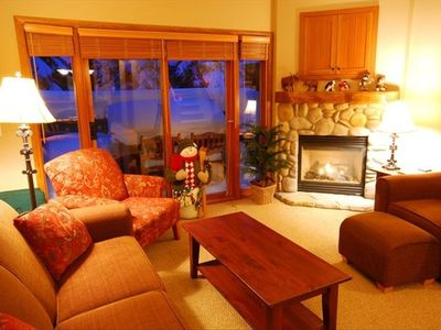 Living room with cozy gas fire place