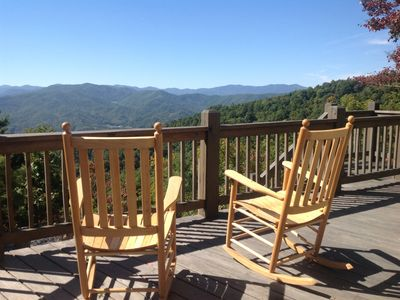 Enjoy the view on the front porch in one of our handmade Troutman rocking chairs