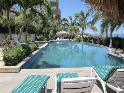 Heated Pool with shaded Palapa areas and great ocean view