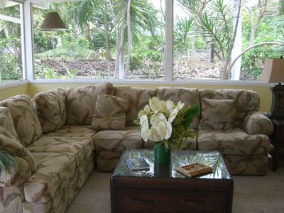 Sunroom with views of the foilage