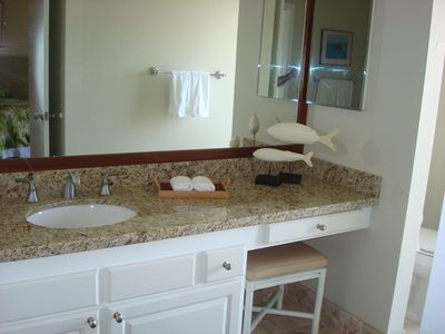 Second Bath with Italian Travertine Shower and Granite Counters