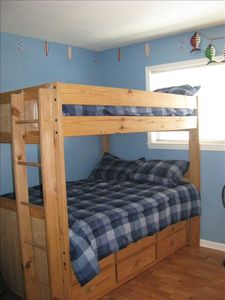 Second bedroom, full over full bunk bed with a pull out twin trundle