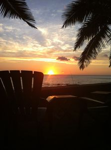 A cold one, comfortable chair and a spectacular sunset; life is good!
