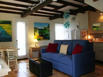 Rockport cottage rental - Another view of Living room/Dining area and Kitchen