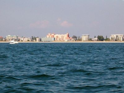 View of Madeira Beach and the resort (center, in pink) from the Gulf of Mexico