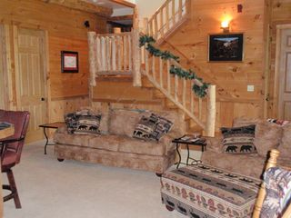Lake Toxaway house photo - Lower level with rustic panels throughout. Actual trees within decorated ceiling