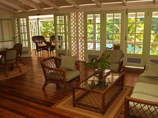 Marigot Bay apartment photo - Living room upper level - Comfortable, Tropical Cottage-like