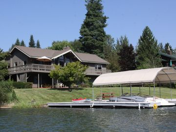 View of the house and private dock from the water