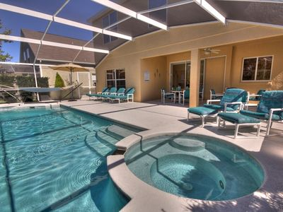 Legacy Dunes house rental - The sparkling pool and bubbling spa face west and south for maximum sunshine