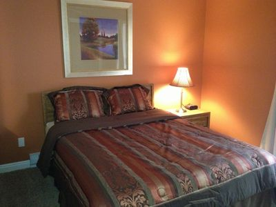 A Comfortable bedroom decorated in beautiful dessert colors - Unit #104