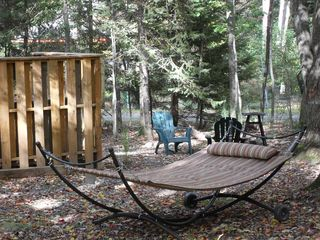 Arrowhead Lake house photo - Firepit, seating and hammock