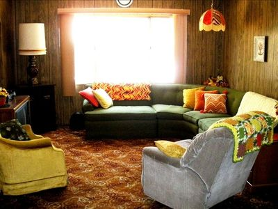 Cozy, retro '70's living room