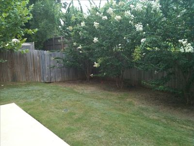 Fenced backyard with patio.