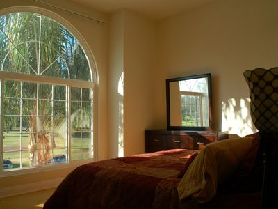 Vaulted ceiling and window in the master bedroom