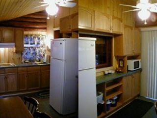 Breezy Point cabin photo - Knotty pine kitchen w/exposed log timbers