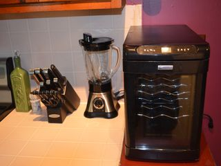 Bartlett chalet photo - Wine fridge, new knives, blender in our stocked kitchen.